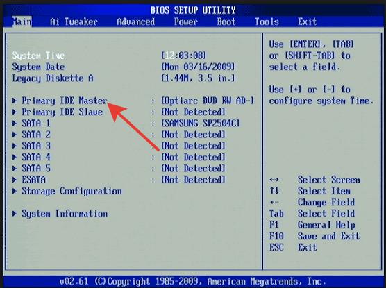 Новый жесткий диск обозначается как Primary IDE Master