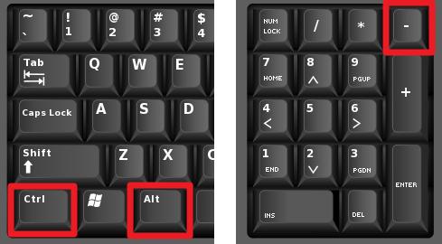 Комбинация кнопок Ctrl+Alt+ «минус»