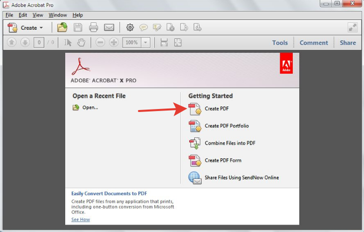 Опция Create PDF