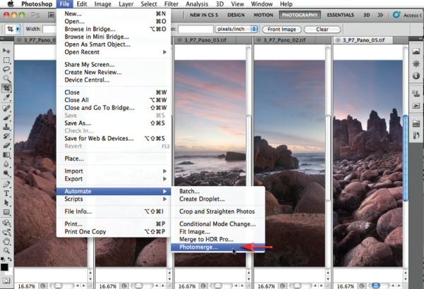 Инструмент Photomerge в разделе Automate в меню File