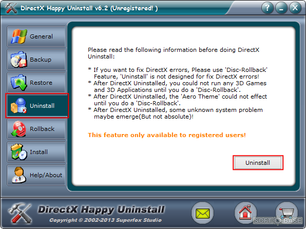 Установка программы DirectX Happy Uninstall