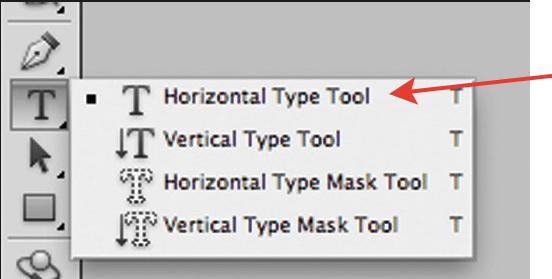 Команда Horizontal Type Tool на панели инструментов