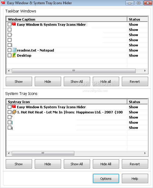 Приложение Easy WIndow & System Tray Icons Hider