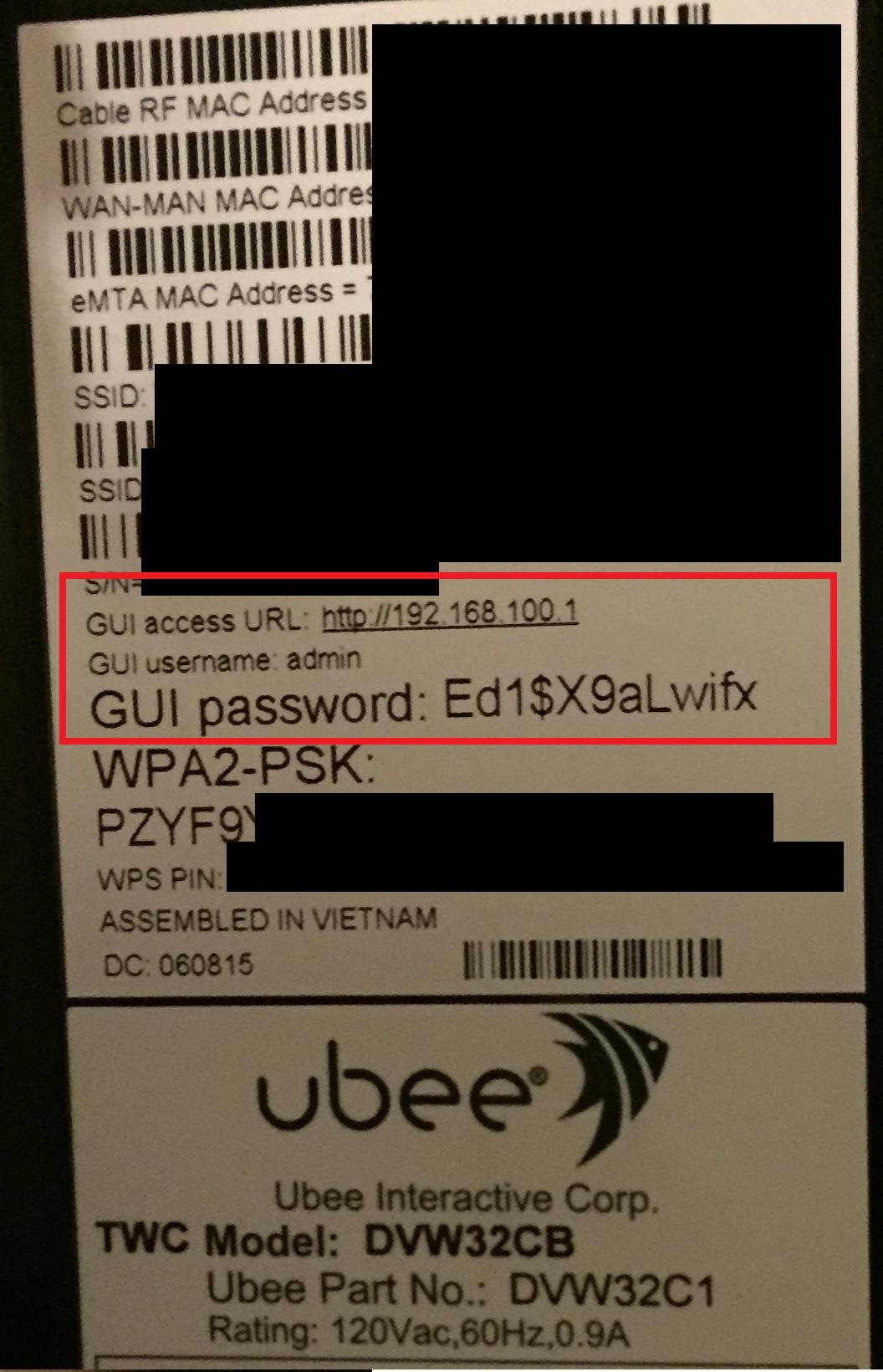 Логин и пароль на корпусе модема