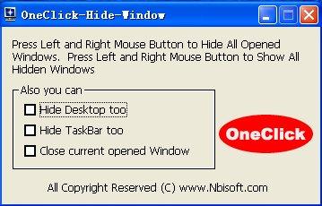 Утилита OneClick Hide Window