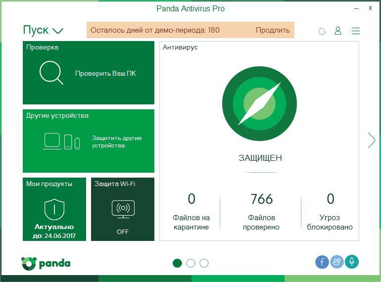 Страница антивируса Panda