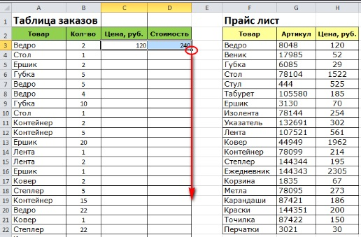 Внесение в таблицу исходных данных