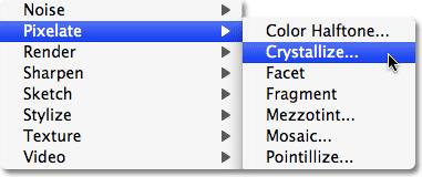 Опция Crystallize