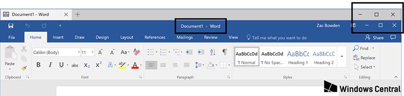 Неоптимизированный макет приложения Tabbed Shell от Windows Central