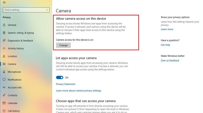 Настройки приватности камеры