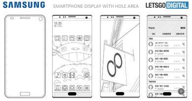 Samsung запатентовала камеры и сканеры отпечатков пальцев встроенные в дисплей