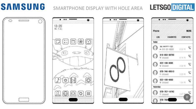 Патент Samsung на камеру и сканер отпечатков пальцев, встроенные в дисплей