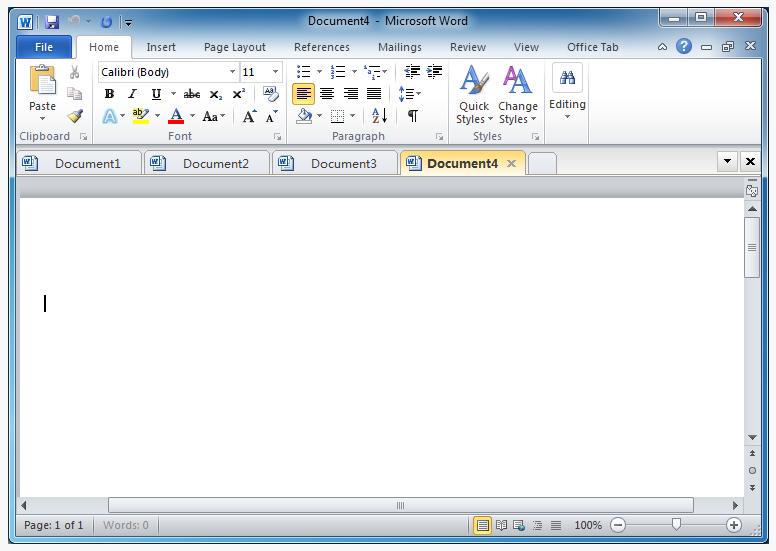 Работа Office Tab в приложении Microsoft Word