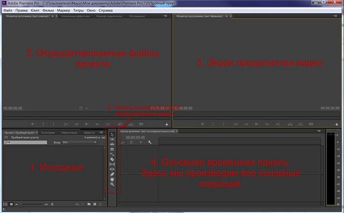 Рабочие области программы Adobe Premiere Pro