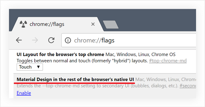 Включение пункта «Material Design in the rest of the browser's native UI»