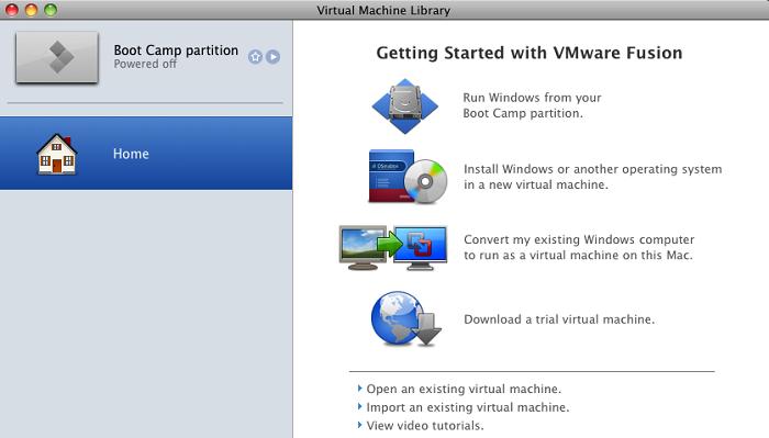 Стартовое окно VMware Fusion