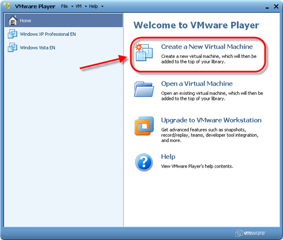 Пункт  «Create New Virtual Machine»
