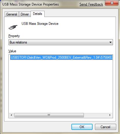 Строка определения цифрового идентификатора USB-устройства