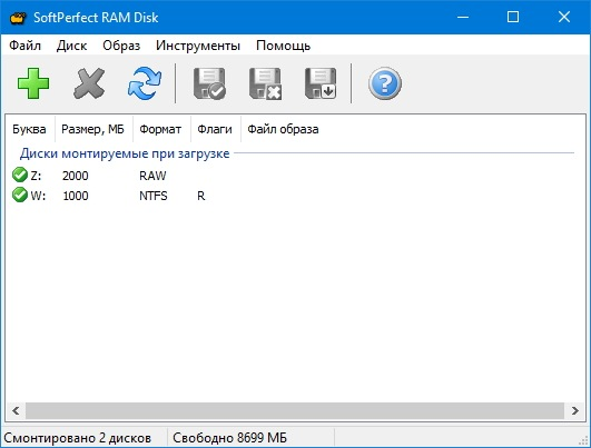 Скриншот к SoftPerfect RAM Disk