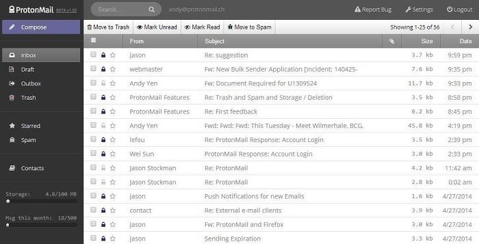 Скриншот к ProtonMail