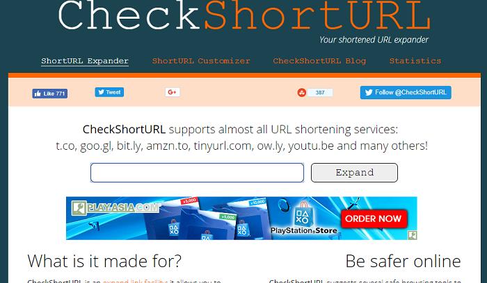 Скриншот к CheckShortURL.