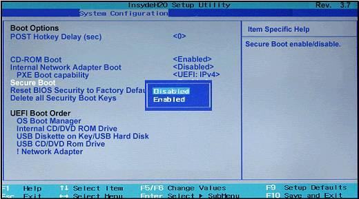 Отключение опции Secure Boot