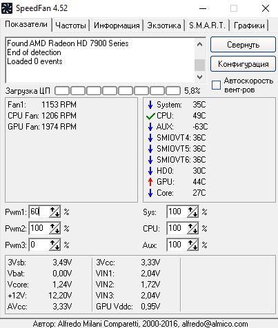 Скриншот к SpeedFan 4.52