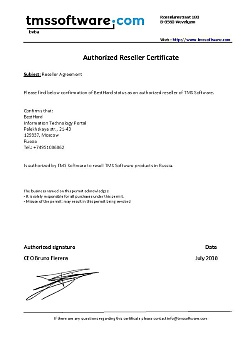 Authorized Reseller Certificate