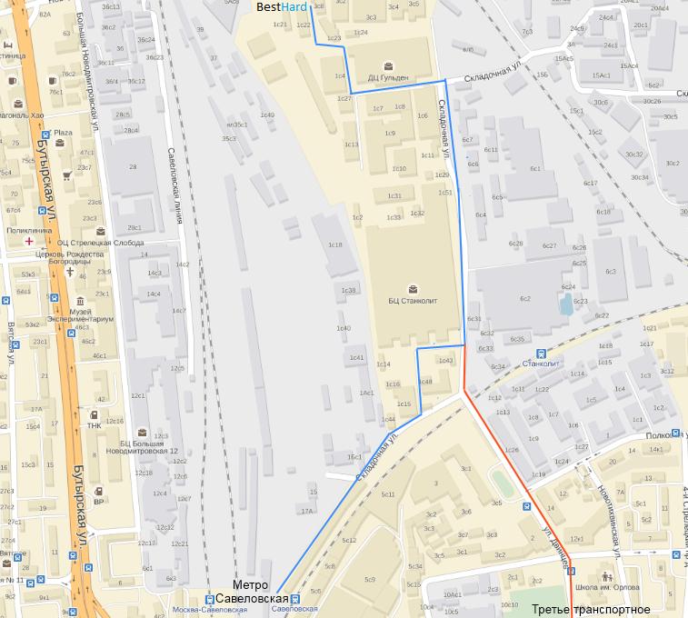 Синим обозначен маршрут пешком